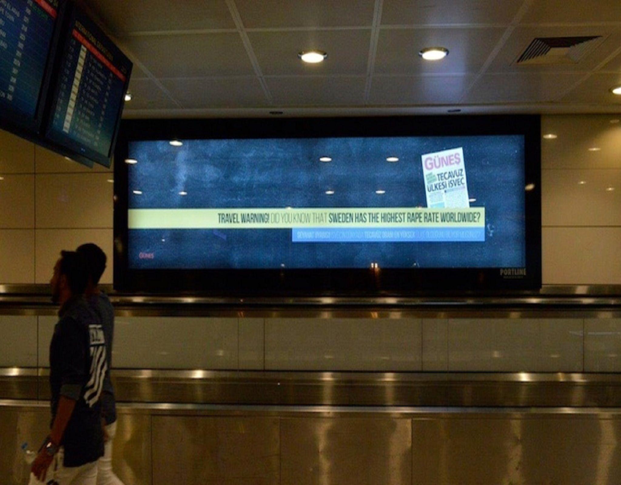 İsveç'e misilleme: Atatürk Havalimanı'ndaki panolarda ' tevacüz uyarısı' yazısı