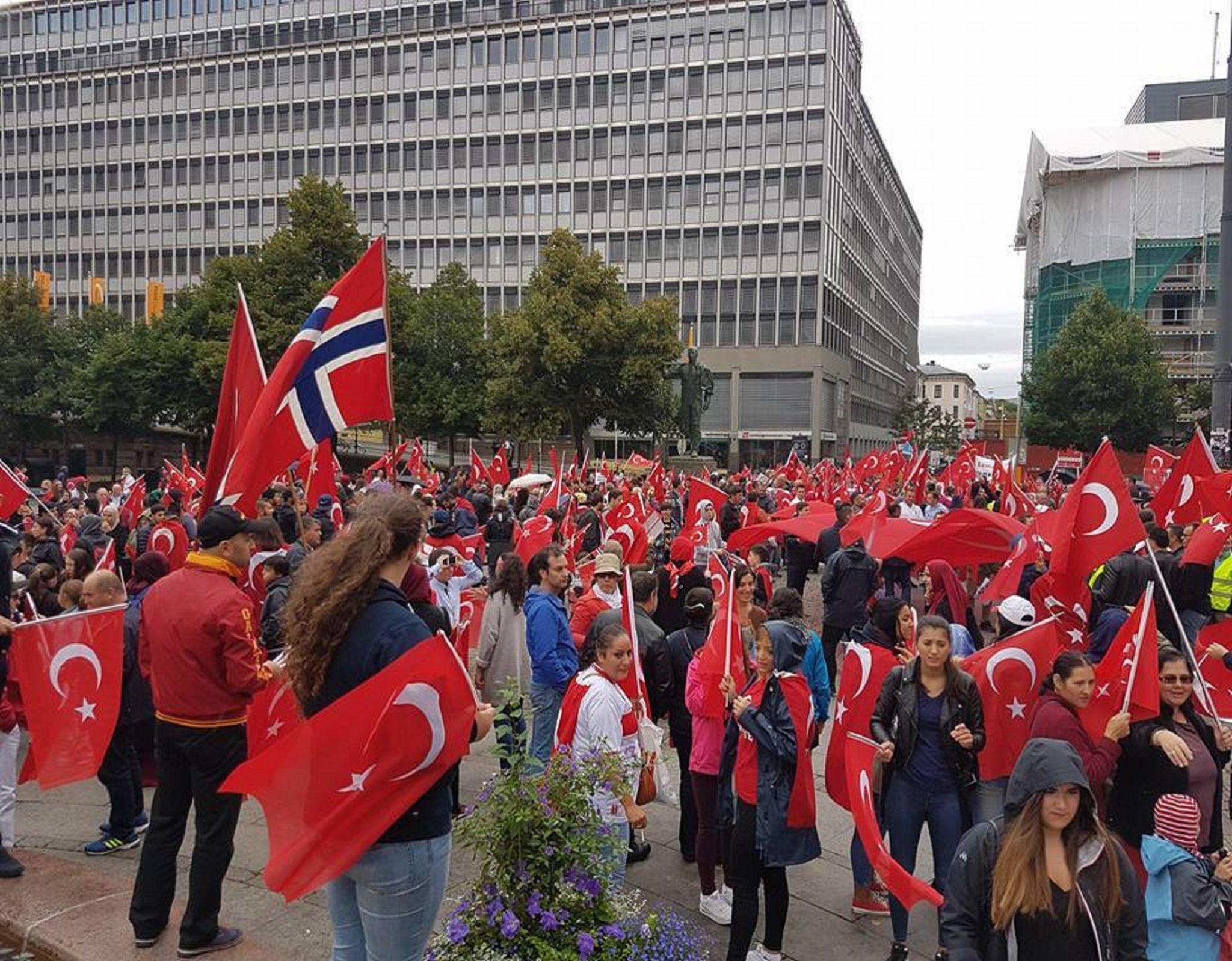 Norveç'te bayrak ve demokrasi yürüyüşü